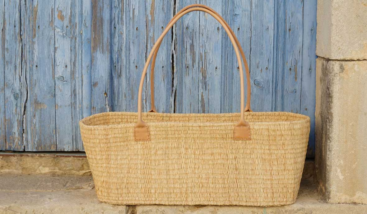 hand-woven bag made from natural raffia